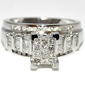 Princess Cut Diamond Wedding Ring 3 in 1 Engagement & bands white gold .9ct Real