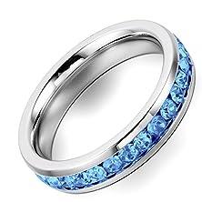 buy Flongo Stainless Steel Blue Shine Rhinestone Promise Wedding Engagement Eternity Ring Band, Size 4