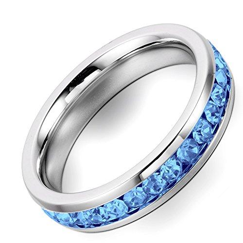 Flongo Anelli da Donna 4mm Banda con Blu Zircone Bling Stile in Acciaio Argento Blu