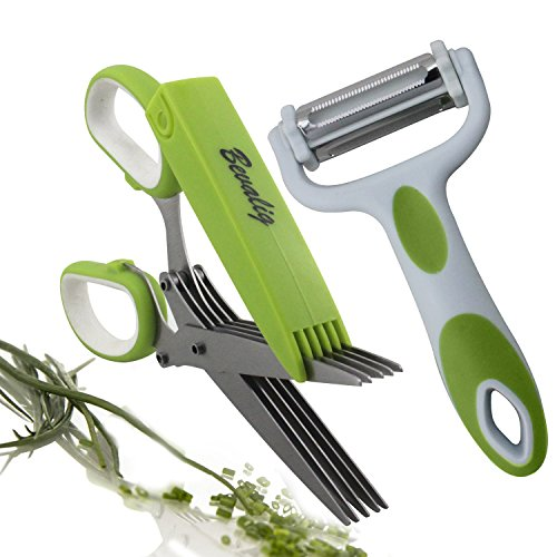 Bevalig Herb Scissors with 3-in-1 Click N Peel Multipurpose Peeler - Julienne Vegetable Fruit - Premium Cooking Gadgets - 5 Blades Stainless Steel Kitchen Shear with Cover and Cleaning Comb