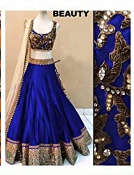 Bhavya Enterprise Royal Blue Benglori Silk Lehenga