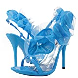 Moxie40 Ruffle High Heel Sandal TURQUOISE from heels-shoes.com