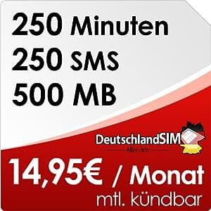 DeutschlandSIM SMART 250 [SIM und Micro-SIM] monatlich kündbar (500MB Daten-Flat, 250 Frei-Minuten, 250 Frei-SMS, 14,95 Euro/Monat, 15ct Folgeminutenpreis) Vodafone-Netz
