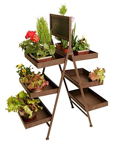 Wald Imports Brown Metal Industrial Display Ladder