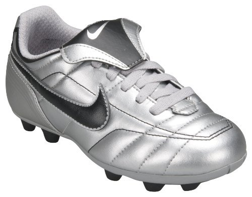 Scarpe da calcio NIKE JUNIOR Tiempo Natural VT, Scarpe da calcio da allenamento, Argento/Nero Junior Taglie UK 11,5 12,5 13,5 2,5 5 5,5 NEW 310060 002, Bambino, Nike Junior Tiempo Football Boots, Silver / Black, UK38.5 / 5.5