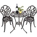 FDS Tulip Garden Furniture 3 Piece Cast Aluminium Bistro Set Table & 2 Chairs