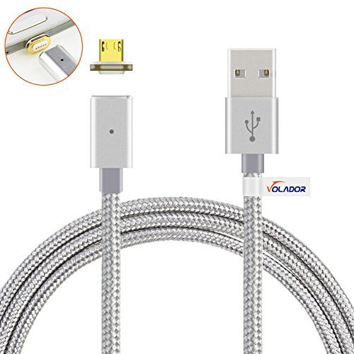VOLADOR Magnetic Micro USB Charging Cable, 2.0A High Speed USB Cord with LED Status Indicator 3.9ft Braided USB Sync Cable for Samsung Huawei HTC LG and More (Silver)