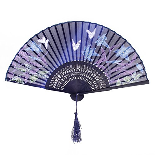 Hand Fan Banboo Japanese Folding Fan Pocket Fan (Butterfly Lily Flower Blue) by Generic (Butterfly Hand Fan compare prices)