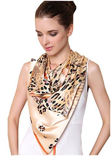 METWAY-Womens-Shawls-4343-Inch-leopard-Print-New-Silk-Scarves-Yellow