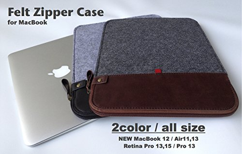 R-VISION フェルトジッパーケース for MacBook   フェルト/PUレザー (12インチ / 11インチ - New MacBook / Air, ブラウンタイプ)