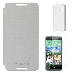 SumacLife Premium Flip Cover Case for HTC Desire 820S (White) + 6000 mAh PowerBank + Matte Screen