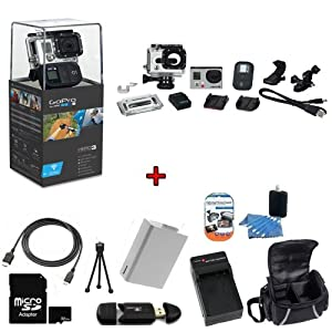 GoPro HERO3: Black Edition Camera (CHDHX-301) w/ SSE Kit: Includes 32GB SDHC High Speed Memory Card, High Speed Card Reader, Extended Life Battery, External Rapid Home & Travel Charger, Deluxe Case, HDMI Cables + More