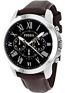 Fossil Men's Quartz Watch Grant FS4813 with Leather Strap