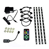 HitLights Eclipse LED Light Strip Accent Kit, Black - RGB Multicolor SMD 5050 - 4 x 1 Foot Strips, Controller, Power Supply and Connectors  - Adhesive Backed for Easy Installation - Color Changing LED Tape Light