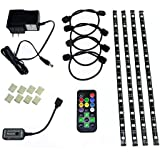 HitLights Eclipse Pre-Cut Multicolor RGB Home Accent LED Tape Light Strip Kit - Includes Remote Control and Power Adapter - Four Pre-Cut One Foot Strips, Wire Mounting Clips and Connectors