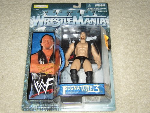 Stone Cold Steve Austin Action Figure With Wwf Attitude Display Case - Wrestlemania Xv Signature Series 3