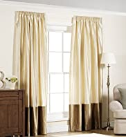 Tafetta Velvet Trim Pencil Pleat Curtains