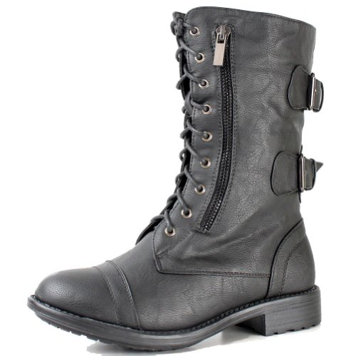 Top Moda Women's Pack-72 Lace Up Combat Boot,Pack-72v5.0 Black 8