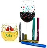 Wine Glass Markers - Pack of 5 Pens - 5 Vibrant Metallic Colors - Newest Wine Charm Alternative for Party Hostess