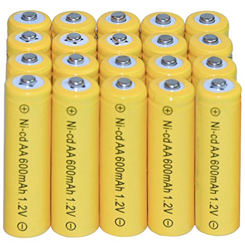 20 AA Rechargeable Batteries NiCd 600mAh 1.2v Garden Solar Ni-Cd Light Nicd Lamp (Mane Clip compare prices)