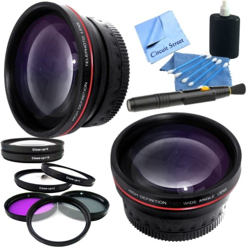 Professional 58Mm Lens Kit For Canon Mp-E 65Mm F/2.8 1-5X Macro Lens: Includes 0.45X High Definition Wide Angle Lens, 2X Telephoto Hd Lens, 3 Piece Multicoated Filter Kit (Uv,Cpl,Fld) 4 Piece Macro Close Up Lenses (Diopters +1+2+4+10), Lens Cleaning Pen &