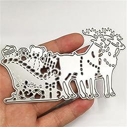 Metal Merry Christmas Deers Gift Cutting Dies DIY Paper Card Scrapbook Stencils