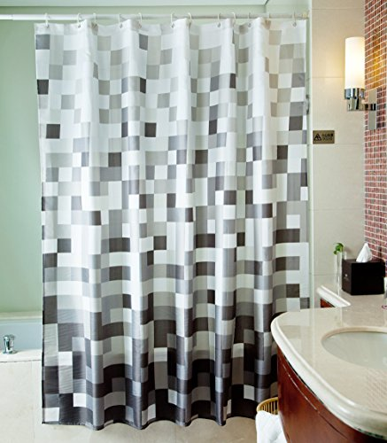 Sfoothome Polyester Fabric Shower Curtain Waterproof/ No More Mildews Bathroom Shower Curtains (Gray square 3) (Shower Curtains Modern compare prices)