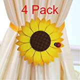 4 PCS Magnetic Curtain tiebacks strong Holdbacks Drapery Holder - No tools required
