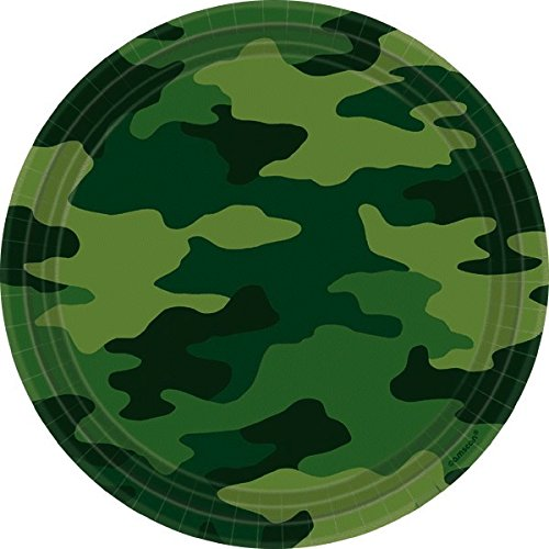 "Amscan Adventurous Camouflage Lunch Plates Birthday Party Supplies, 9"", Camouflage Green"