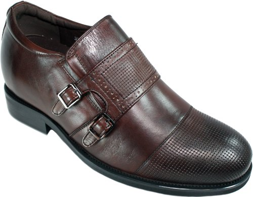 Calto - G5926 - 3 Inches Taller - Size 9 D Us - Height Increasing Elevator Shoes (Dark Brown Leather Monk-Strap Slip-On Dress Shoes)