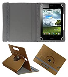 Acm Designer Rotating 360° Leather Flip Case For Asus Me371mg-1b058a Tablet Stand Premium Cover Golden