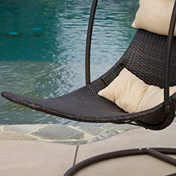 Great Deal Furniture Outdoor Brown Wicker Hanging Chair with Cushions
