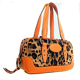 Dolce & Gabbana Leopard Print and Orange Leather Handbag