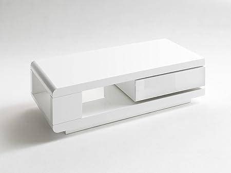 Couchtisch, Beistelltisch, Hochglanz weiss + Schubkasten drehbar, L= 120 cm