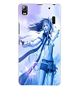 ColourCraft Beautiful Girl Design Back Case Cover for LENOVO A7000 PLUS