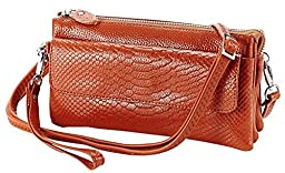 Aibag Soft Genuine Leather Crocodile Clutch Organizer Purse Shoulder Crossbody Wristlet Bag