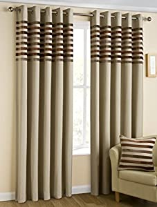 """Kings Cream Beige 90"""" X 90"""" Striped Lined Ring Top Curtains #nylkoorb *bel*"""