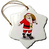 3dRose orn_54210_1 Santa Claus Skateboarding Snowflake Porcelain Ornament, 3-Inch