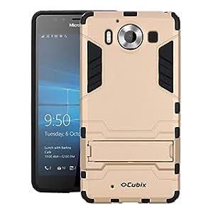 CHEETAH Lumia 950 Case, [DuraShield Series] Drop Proof Phone Cover Grip + Bumper + Stand Hybrid Case For Microsoft Lumia 950 (Gold)