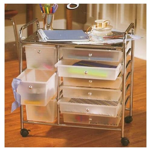 rolling storage cart with 6 oversized drawers office drawer carts office products. Black Bedroom Furniture Sets. Home Design Ideas