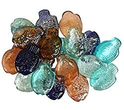 ITOS365 Glass Pebbles Glossy Home Decorative Vase Fillers Fish Shaped