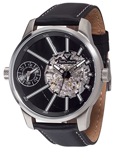 Yves Camani TARAVO Dual Time Automatic Silver, Orologio da polso Uomo