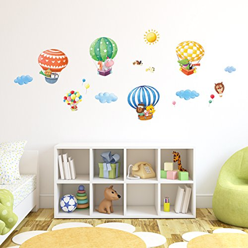 Decowall, DM-1406B, Animal Hot Air Balloons Wall Stickers