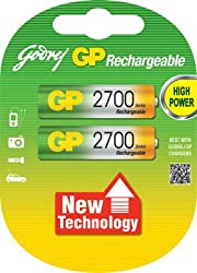 Godrej GP AA 2700mAh NiMh Rechargeable Battery Pack of 2