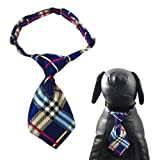 """Alfie Pet by Petoga Couture - Qun Formal Dog Tie and Adjustable Collar - Color: Blue Plaid, Neck Size: 12"""" - 16"""" for Dogs and Cats"""