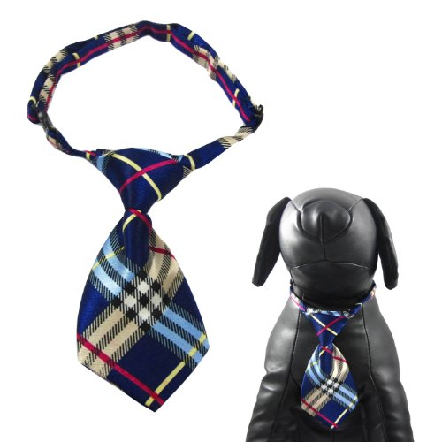 Alfie Couture Designer Pet Accessory - Qun Formal Dog Tie and Adjustable Collar - Color: Blue Plaid, Neck Size: 12