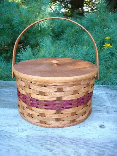 Amish Country Handmade Round Double Two Pie Carrier Basket. Wood Bottom & Lid. Great Home, Garden, and Kitchen Decor. Baskets for Picnic & Church Functions.