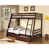 Cappuccino Twin / Full Bunk Bed With Storage Drawers
