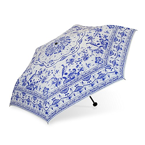 chinese-underglaze-blue-triple-folding-umbrella-eastern-style-umbrella