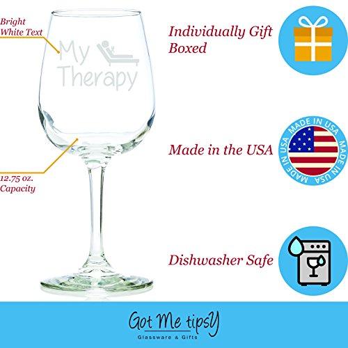My Therapy Funny Wine Glass 13 Oz